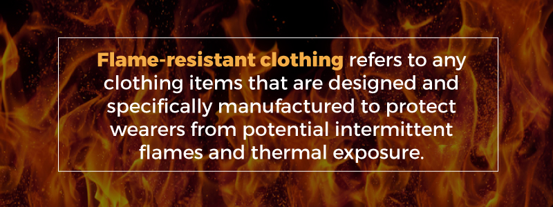 e2f73cd03c2b Flame-resistant clothing — often abbreviated as FR clothing — refers to any  clothing items that are designed and specifically manufactured to protect  ...