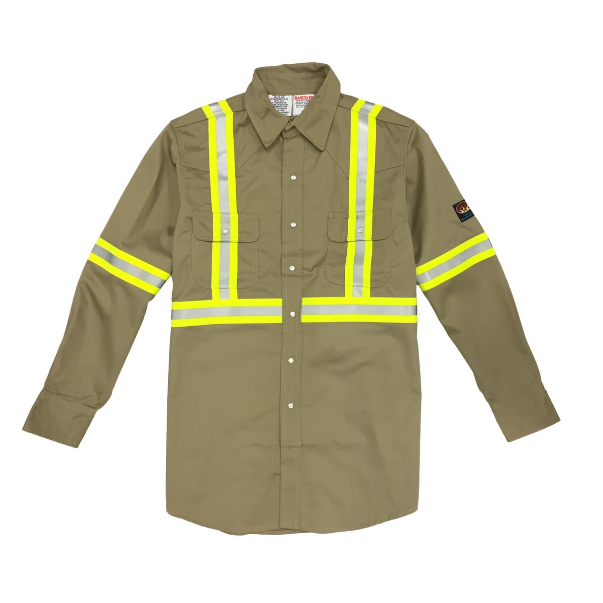 790103cb84fc0 Rasco FR Khaki Reflective Work Shirt For Sale | D.E. Gemmill