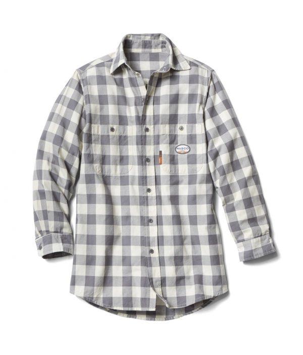 Rasco FR Gray and White Plaid Dress Shirt