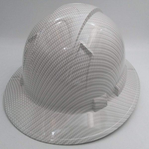 Full Brim White Carbon Fiber Hard Hat with 4-Point Suspension