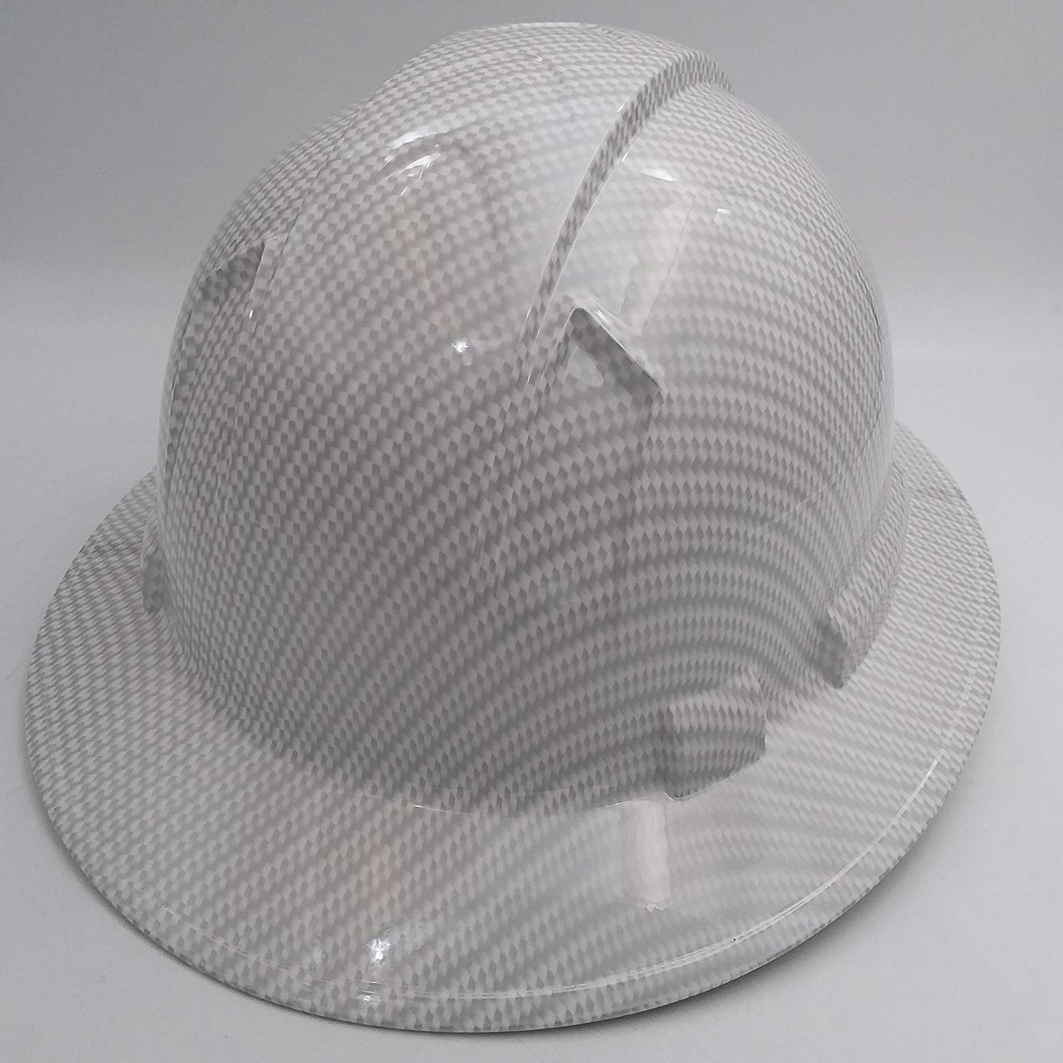 129cee2e Full Brim White Carbon Fiber Hard Hat with 4-Point Suspension For ...