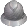 Full Brim White Carbon Fiber Patterned Hard Hat with 4-Point Suspension