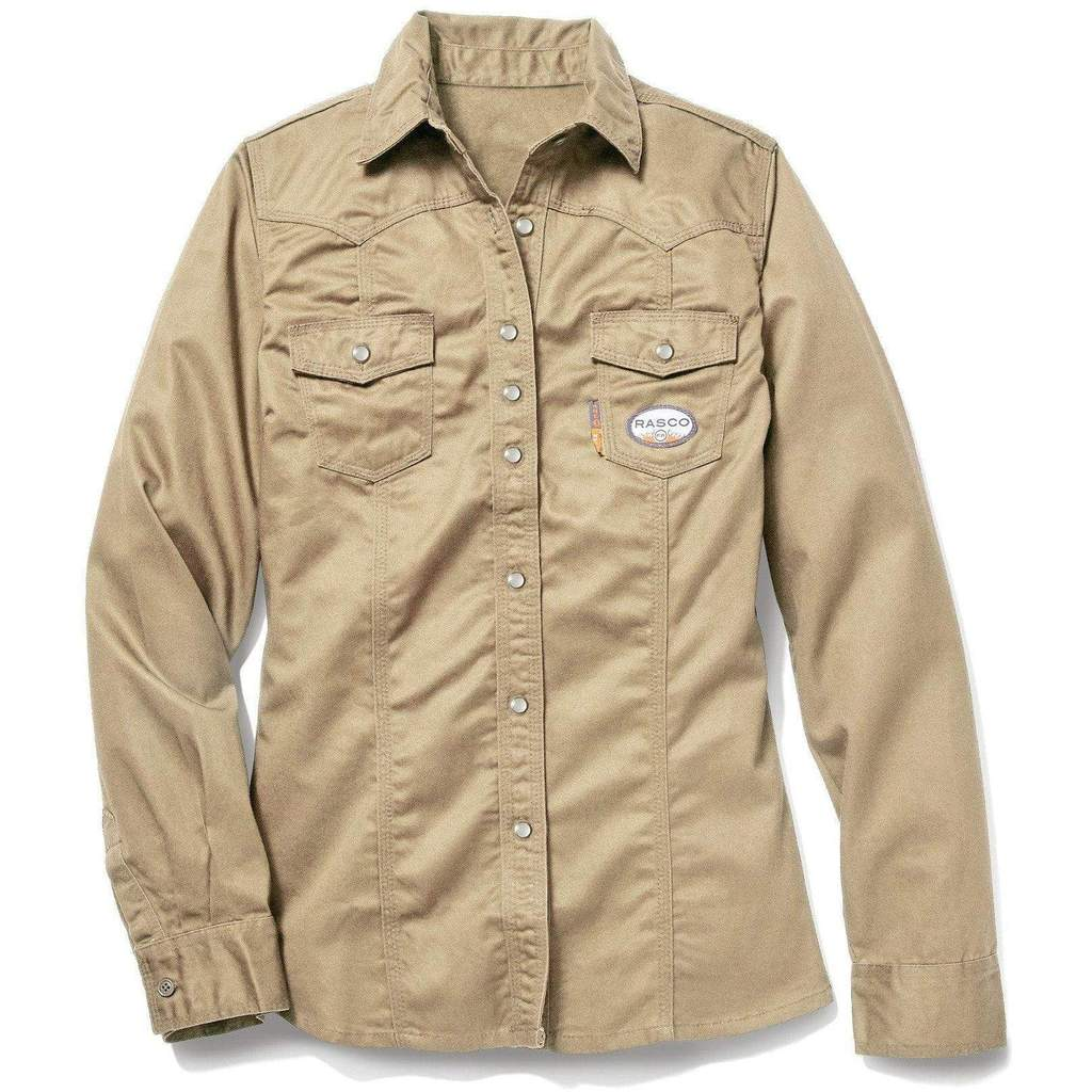 2c02ba74cb1e Womens FR 7.5oz Khaki Work Shirt For Sale