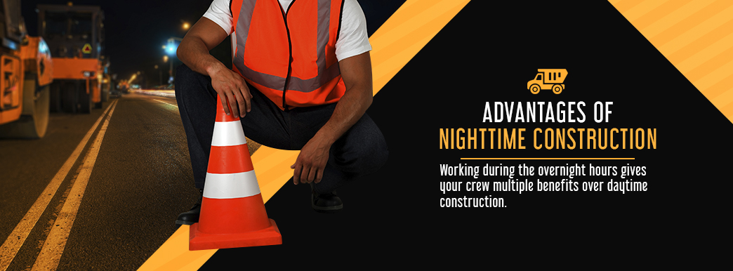advantages of night construction information and man in neon construction gear
